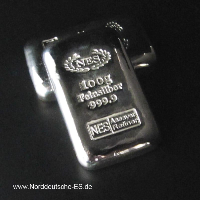 Silberbarren-100g-Feinsilber 9999 NES