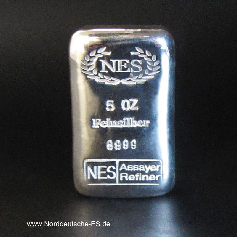 Silberbarren-5-oz-Feinsilber 9999 NES